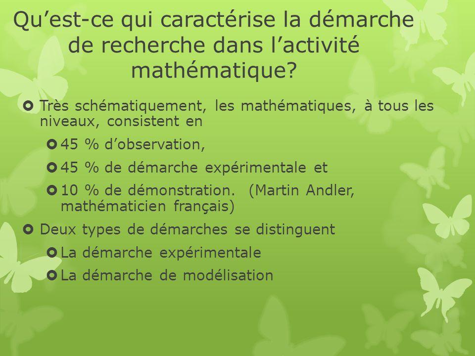 Qu'est-ce qui caractérise la démarche de recherche dans l'activité mathématique