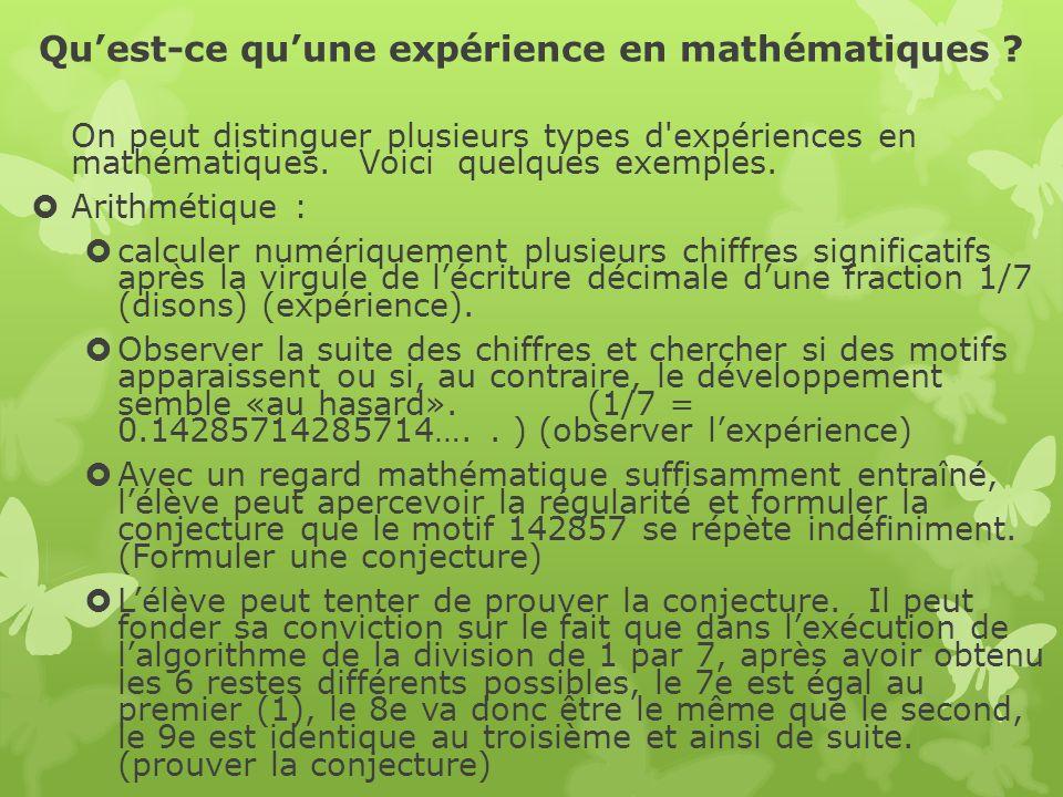 Qu'est-ce qu'une expérience en mathématiques