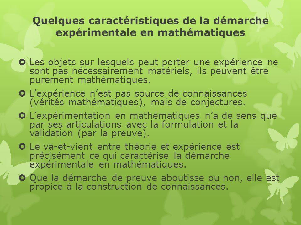 Quelques caractéristiques de la démarche expérimentale en mathématiques