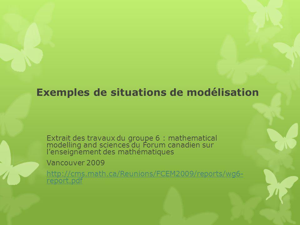 Exemples de situations de modélisation