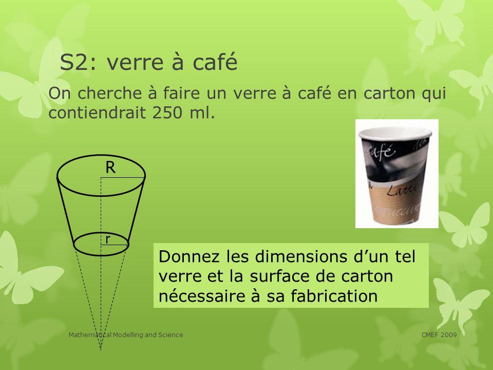 S2: verre à café On cherche à faire un verre à café en carton qui contiendrait 250 ml. R. r.