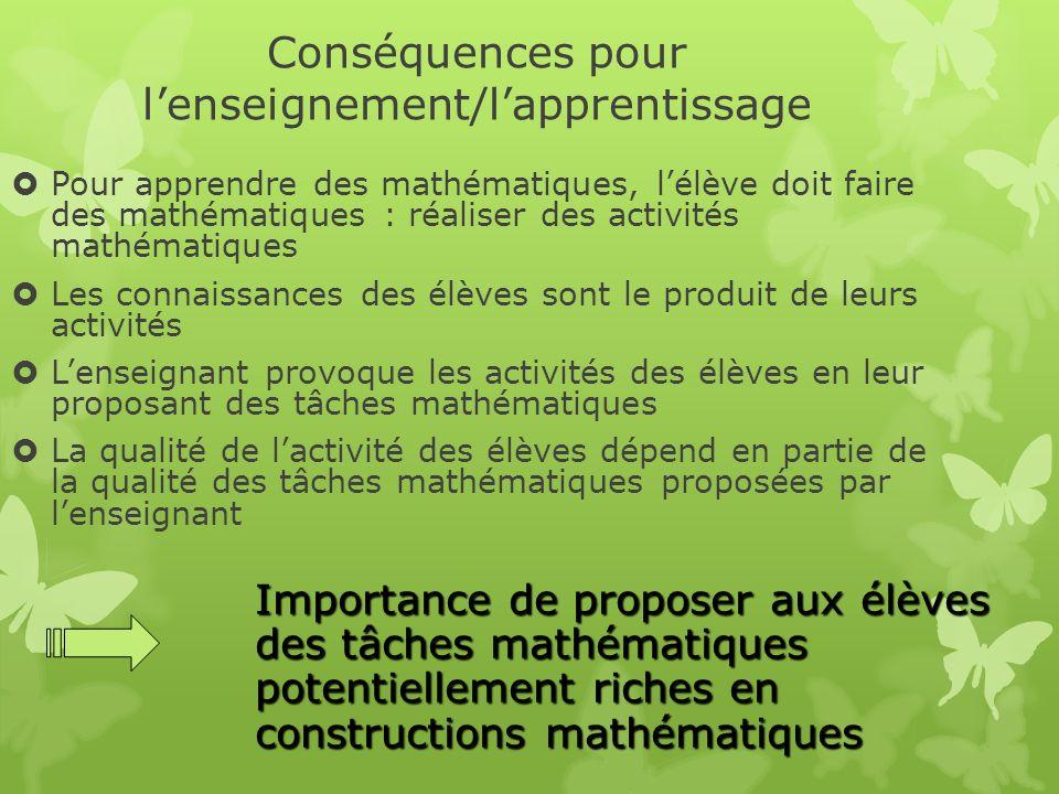 Conséquences pour l'enseignement/l'apprentissage