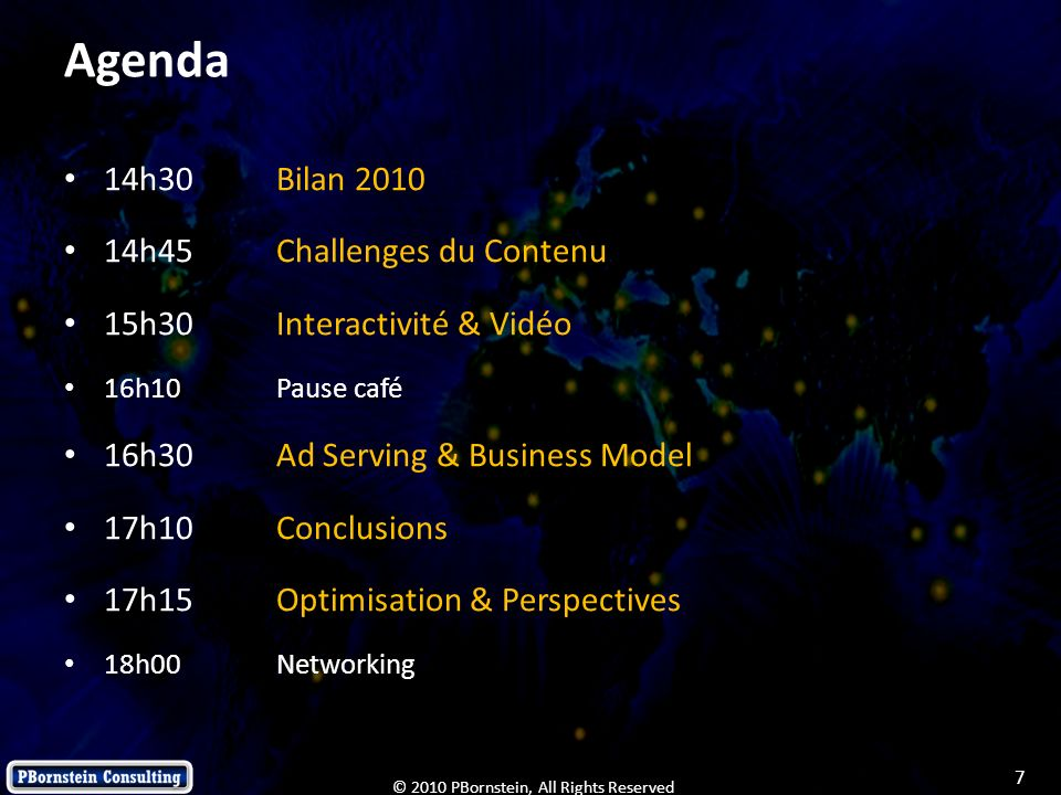 Agenda 14h30 Bilan 2010 14h45 Challenges du Contenu