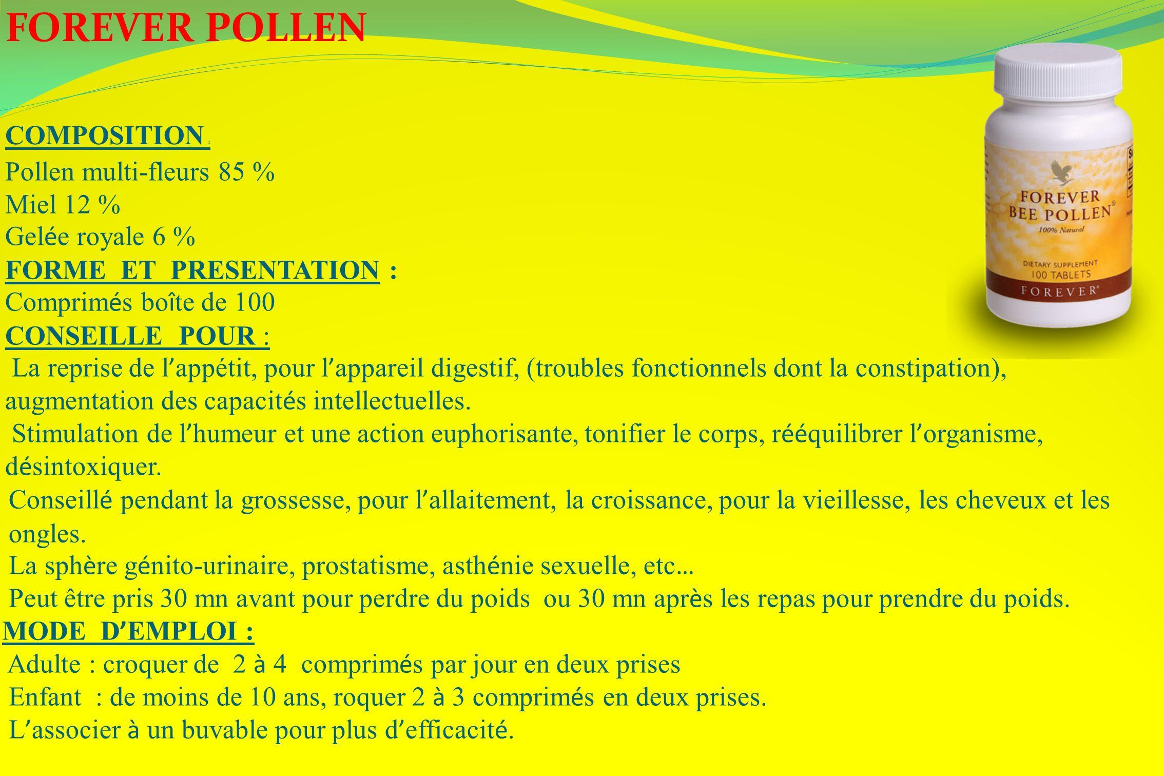 FOREVER POLLEN COMPOSITION : Pollen multi-fleurs 85 % Miel 12 %