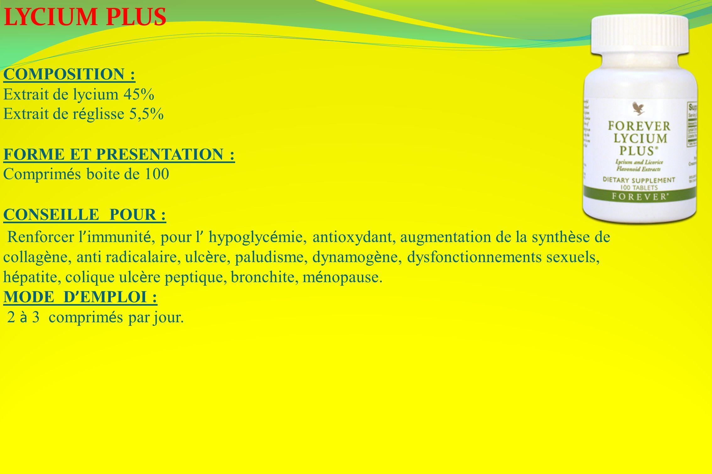 LYCIUM PLUS COMPOSITION : Extrait de lycium 45%