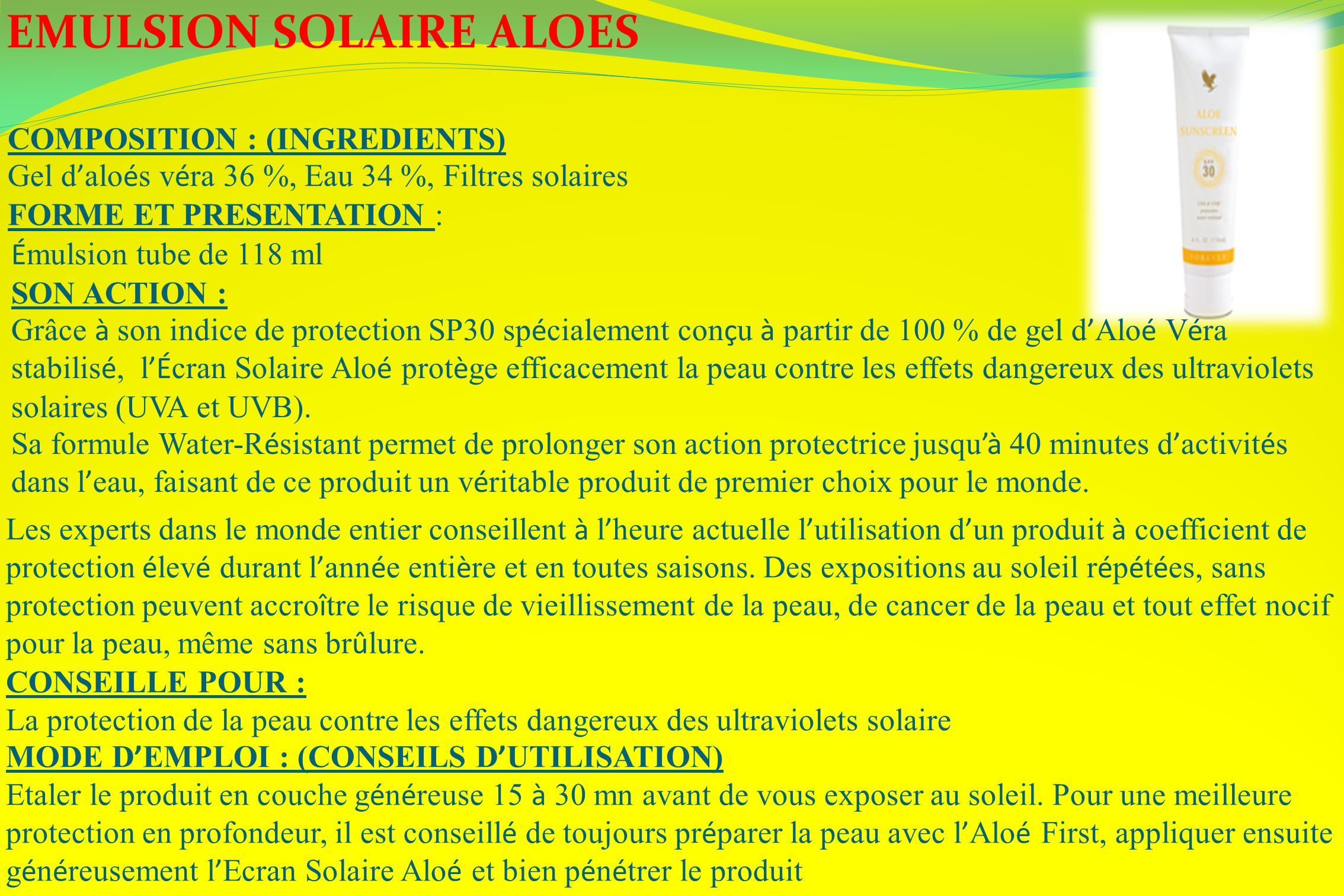 EMULSION SOLAIRE ALOES