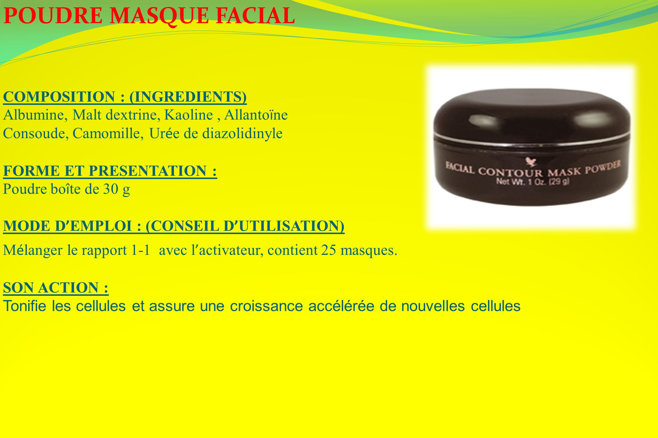 POUDRE MASQUE FACIAL COMPOSITION : (INGREDIENTS)