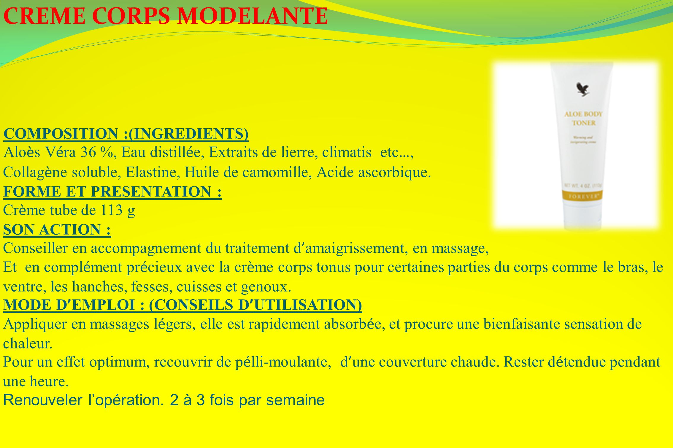 CREME CORPS MODELANTE COMPOSITION :(INGREDIENTS)