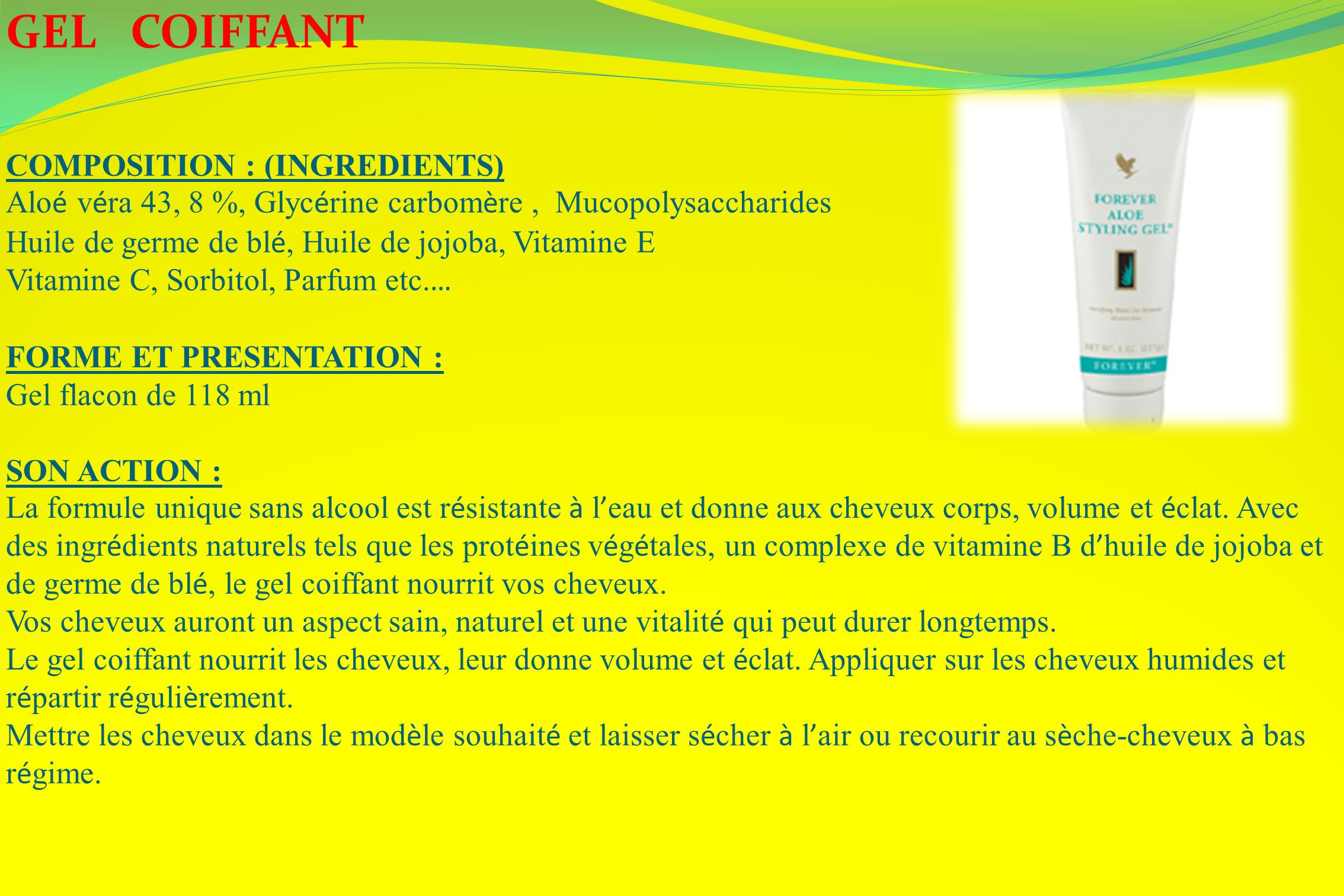 GEL COIFFANT COMPOSITION : (INGREDIENTS)