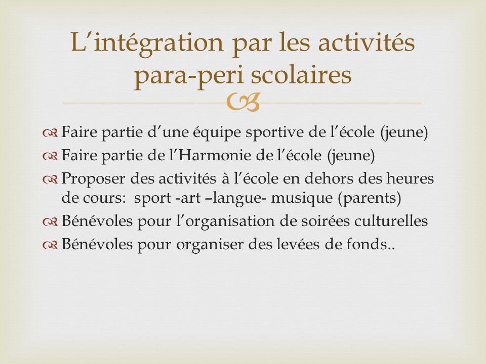 L'intégration par les activités para-peri scolaires
