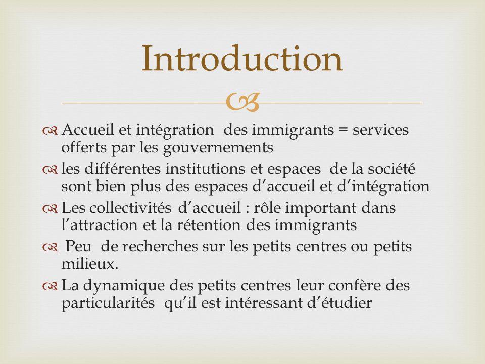 Introduction Accueil et intégration des immigrants = services offerts par les gouvernements.