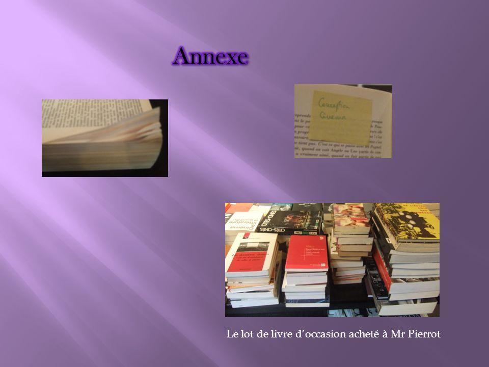 Annexe Le lot de livre d'occasion acheté à Mr Pierrot