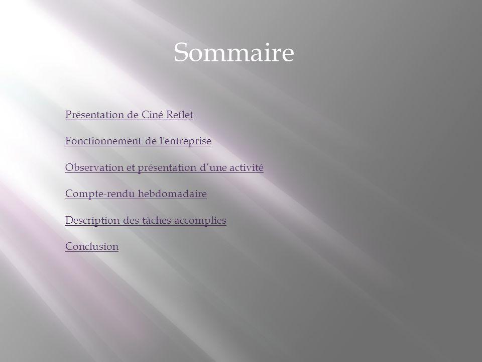 Sommaire Présentation de Ciné Reflet Fonctionnement de l entreprise