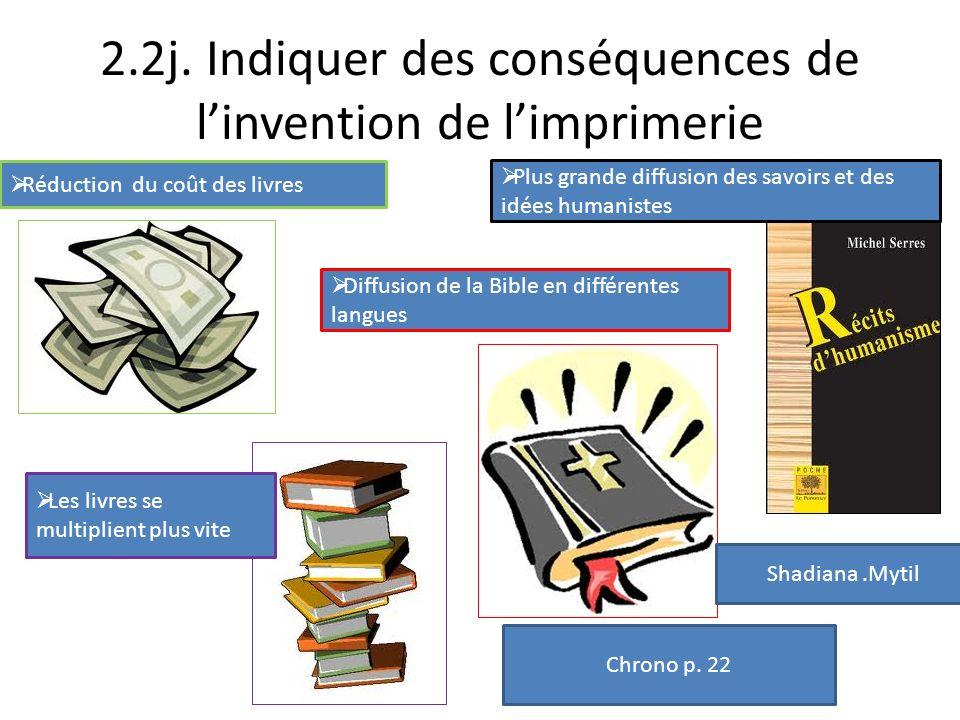 2.2j. Indiquer des conséquences de l'invention de l'imprimerie