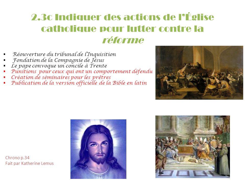 2.3c Indiquer des actions de l'Église catholique pour lutter contre la réforme