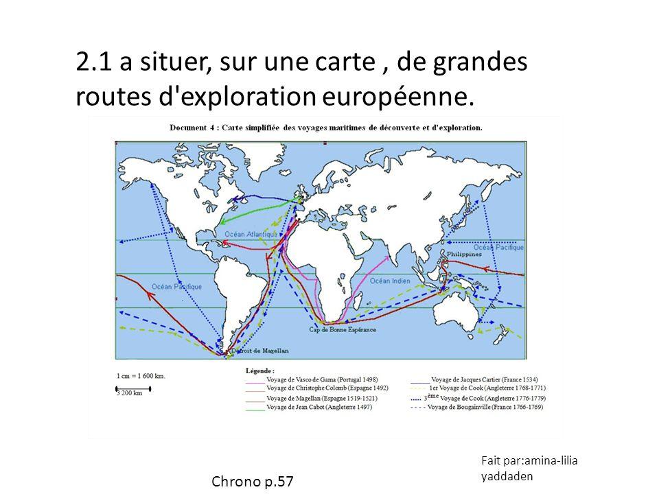 2.1 a situer, sur une carte , de grandes routes d exploration européenne.