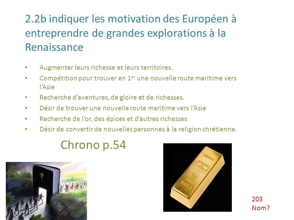 2.2b indiquer les motivation des Européen à entreprendre de grandes explorations à la Renaissance