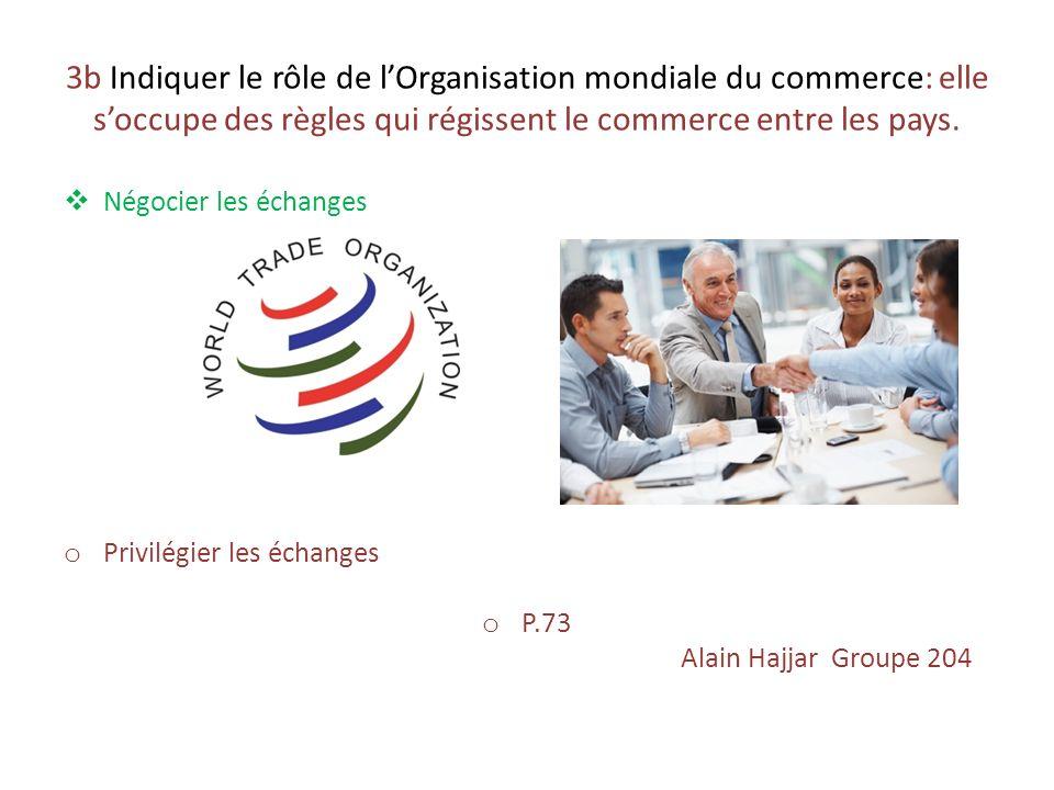 3b Indiquer le rôle de l'Organisation mondiale du commerce: elle s'occupe des règles qui régissent le commerce entre les pays.