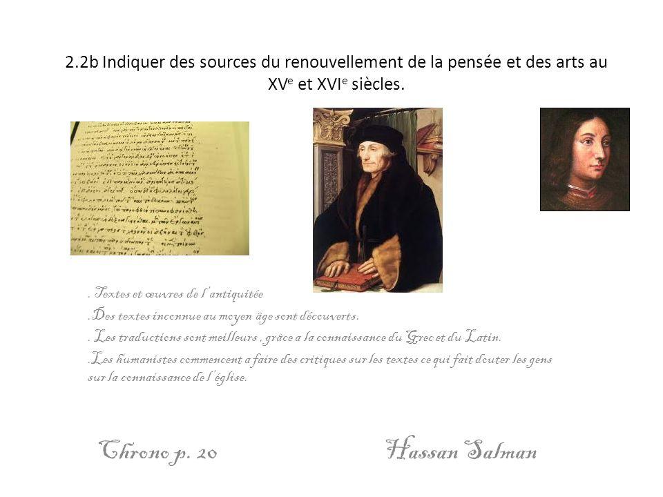 2.2b Indiquer des sources du renouvellement de la pensée et des arts au XVe et XVIe siècles.