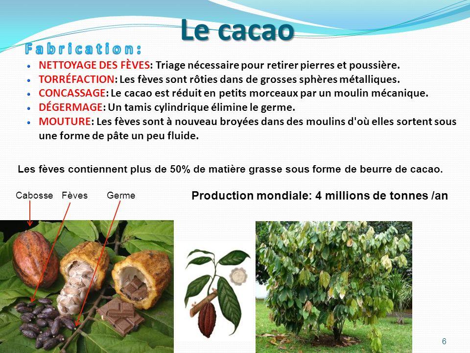 Le cacao F a b r i c a t i o n : NETTOYAGE DES FÈVES: Triage nécessaire pour retirer pierres et poussière.
