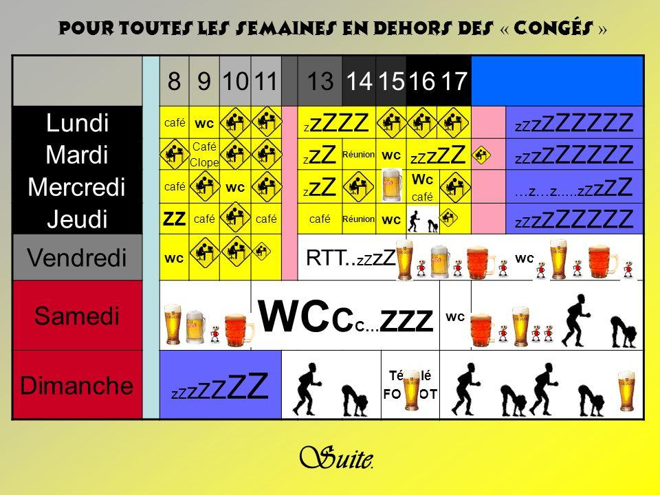 WCCC…ZZZ Suite. 8 9 10 11 13 14 15 16 17 Lundi Mardi Mercredi Jeudi