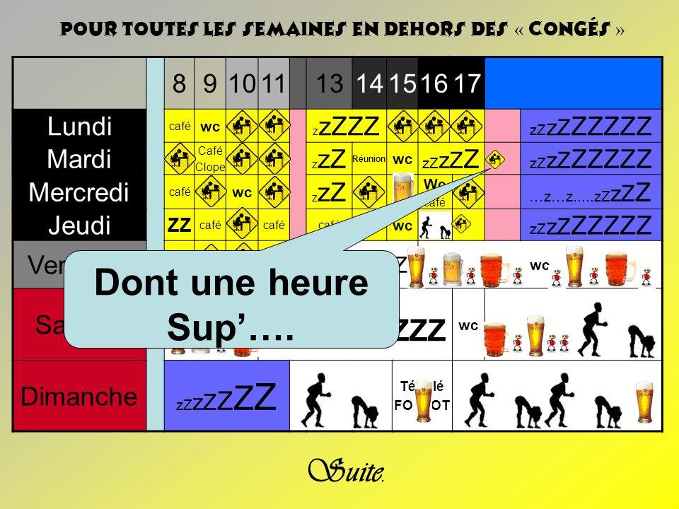 WCCC…ZZZ Dont une heure Sup'…. Suite. 8 9 10 11 13 14 15 16 17 Lundi