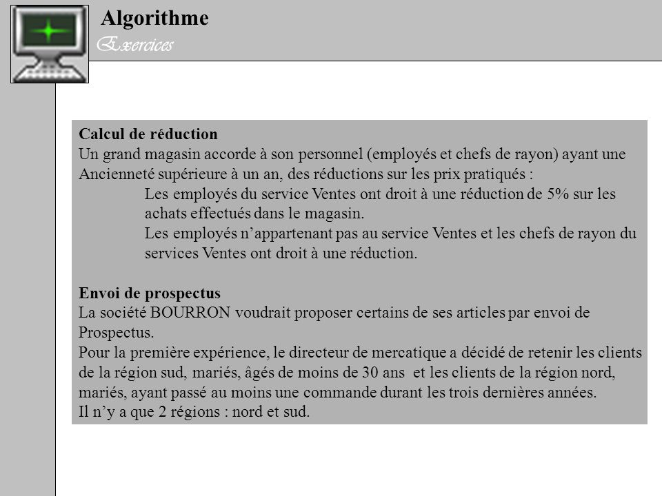 Algorithme Exercices Calcul de réduction