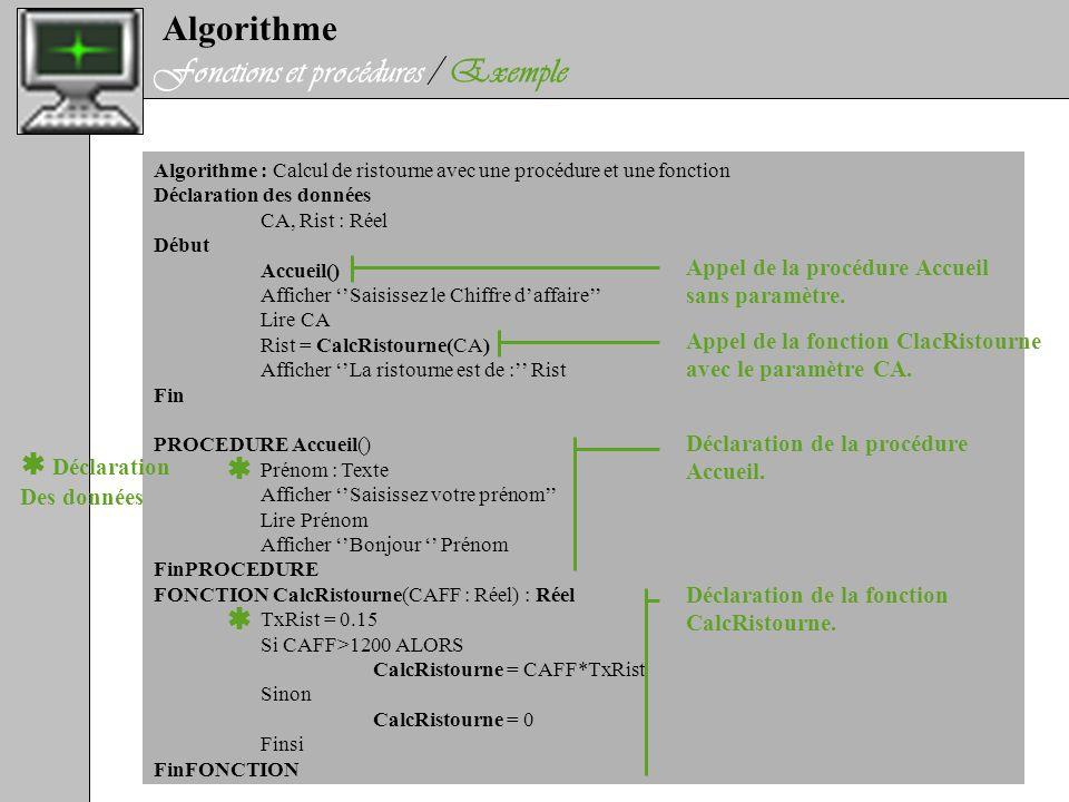 Fonctions et procédures / Exemple