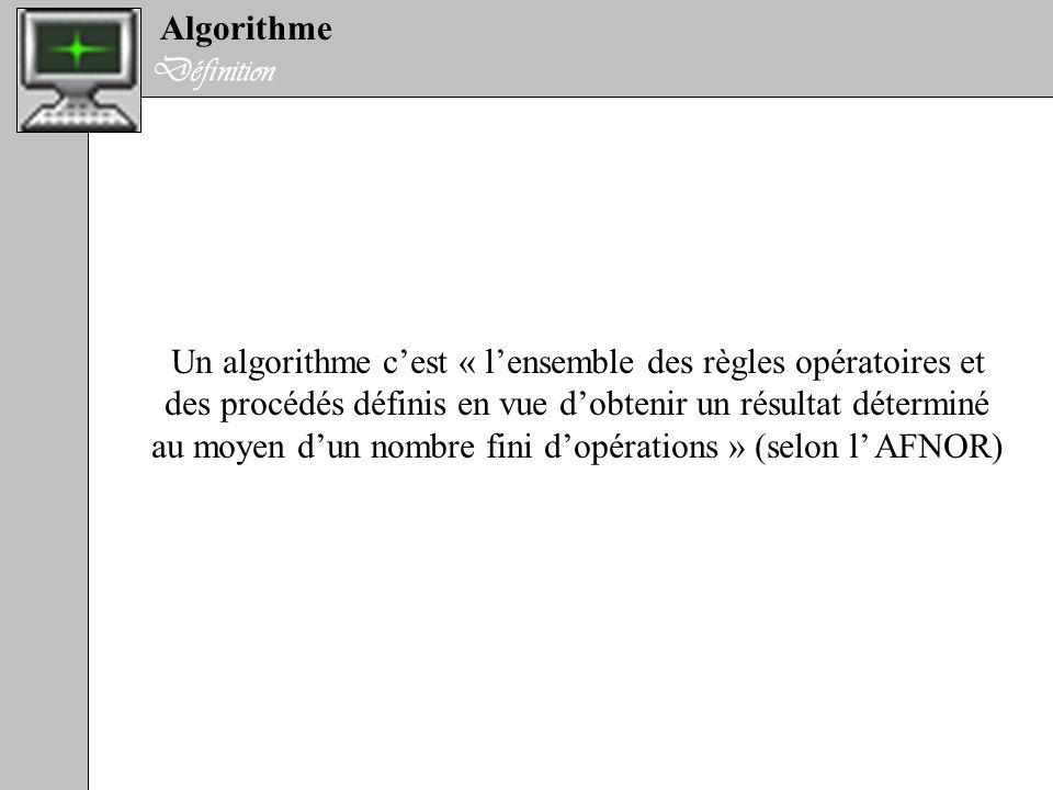 Un algorithme c'est « l'ensemble des règles opératoires et