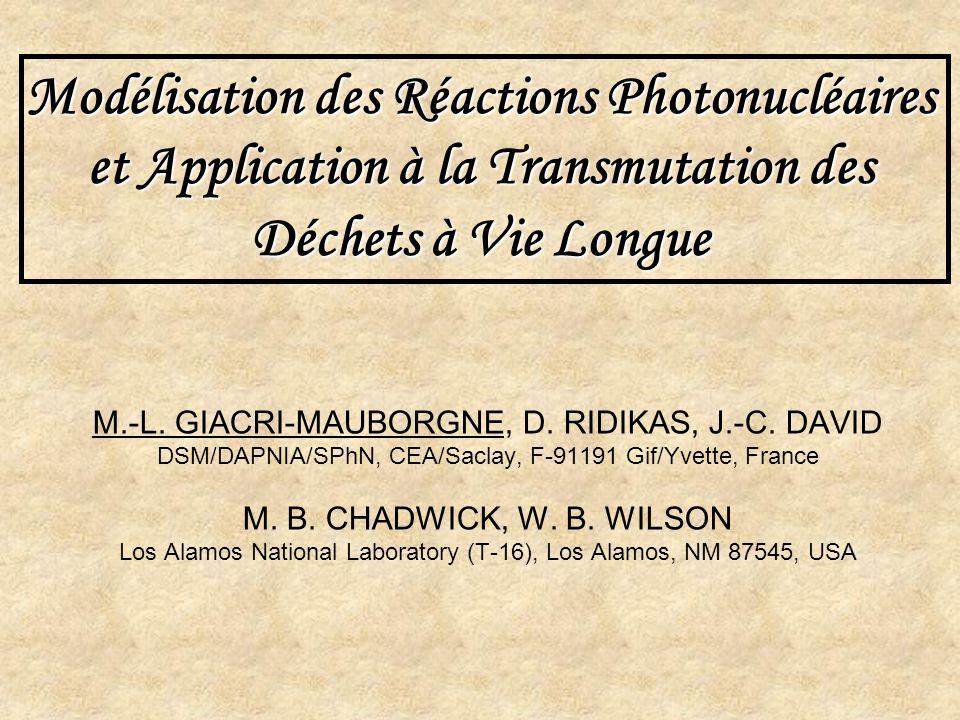 Modélisation des Réactions Photonucléaires et Application à la Transmutation des Déchets à Vie Longue