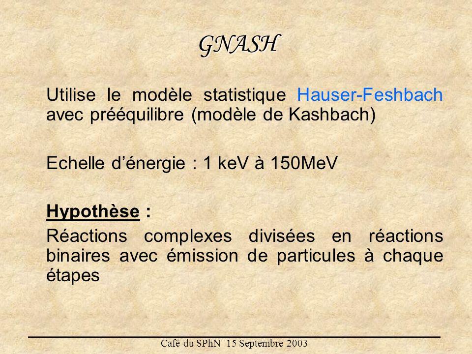 GNASH Utilise le modèle statistique Hauser-Feshbach avec prééquilibre (modèle de Kashbach) Echelle d'énergie : 1 keV à 150MeV.