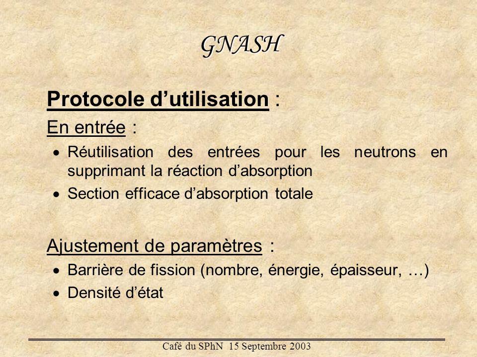 GNASH Protocole d'utilisation : En entrée : Ajustement de paramètres :