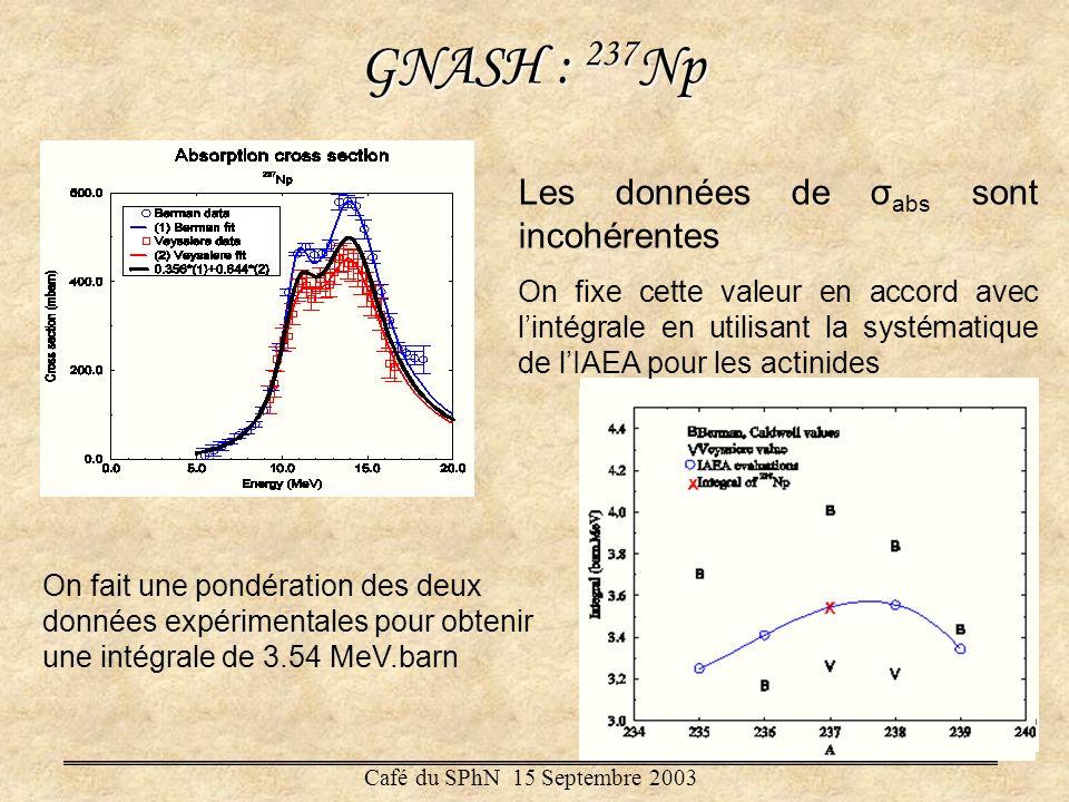 GNASH : 237Np Les données de σabs sont incohérentes