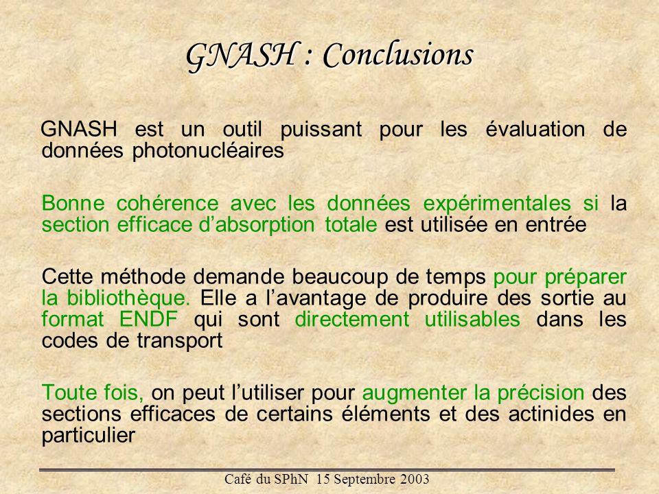 GNASH : Conclusions GNASH est un outil puissant pour les évaluation de données photonucléaires.