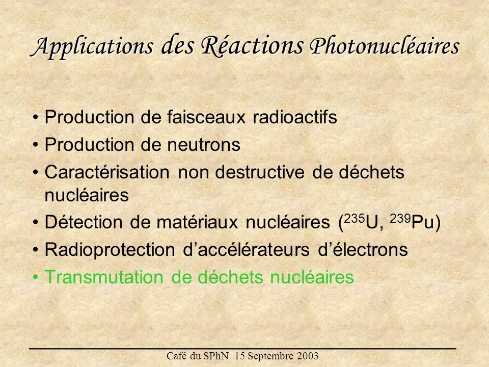 Applications des Réactions Photonucléaires