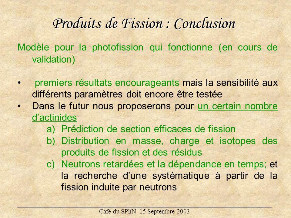 Produits de Fission : Conclusion