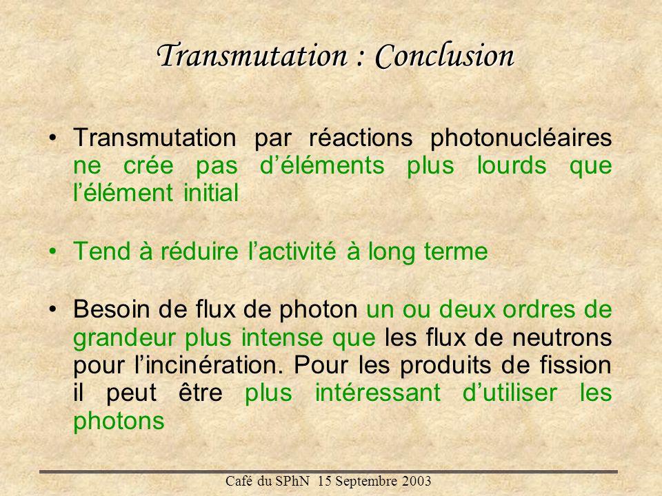 Transmutation : Conclusion