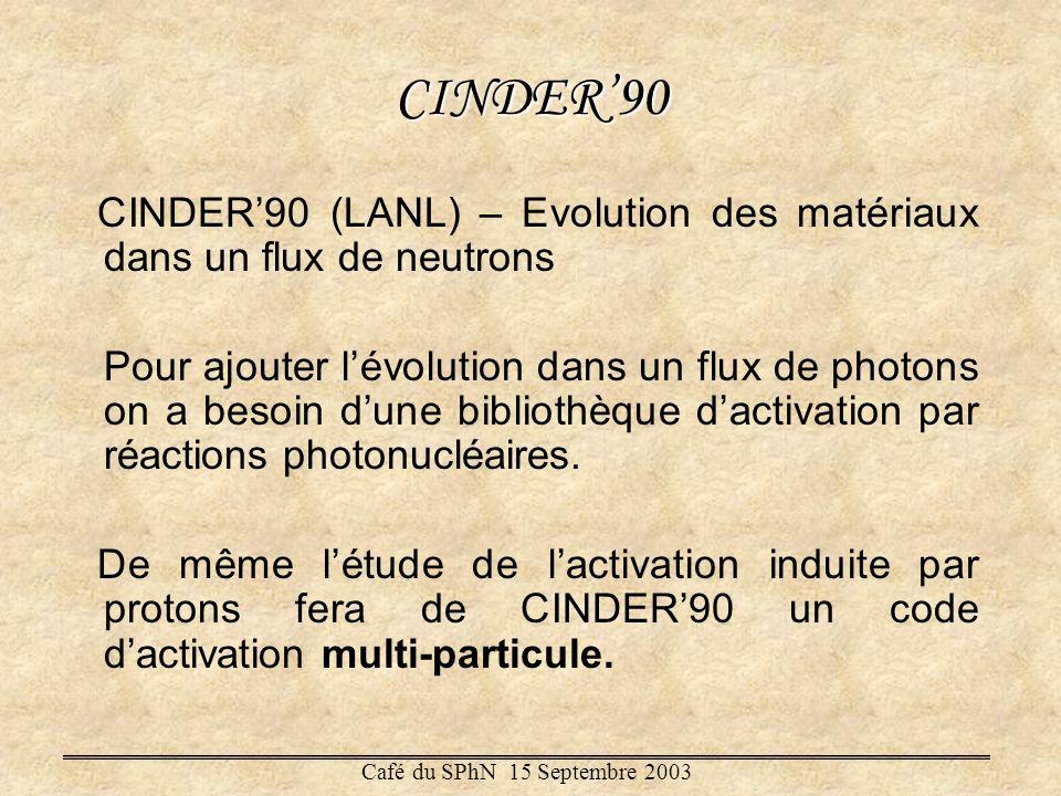CINDER'90 CINDER'90 (LANL) – Evolution des matériaux dans un flux de neutrons.