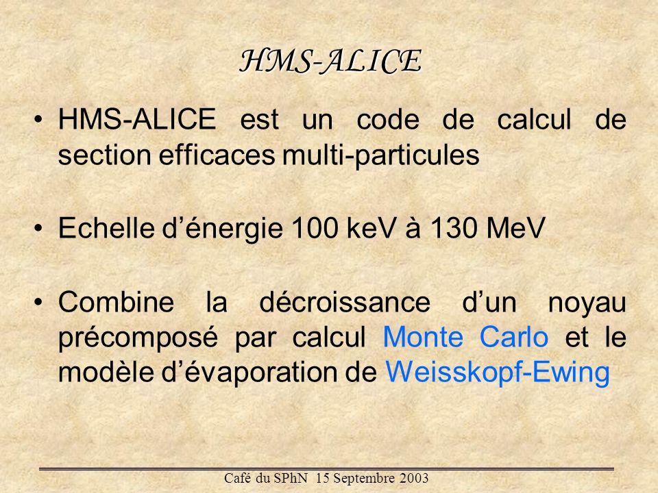 HMS-ALICE HMS-ALICE est un code de calcul de section efficaces multi-particules. Echelle d'énergie 100 keV à 130 MeV.