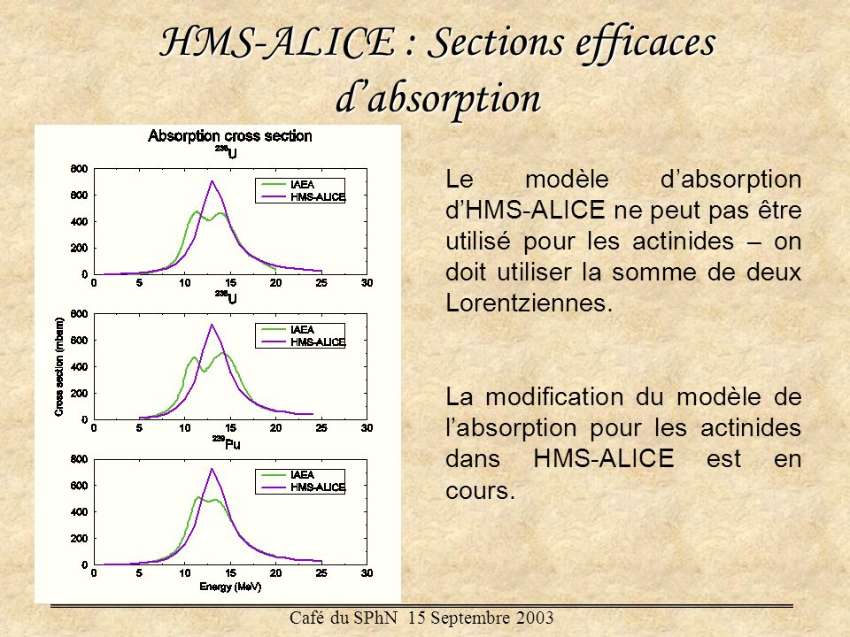 HMS-ALICE : Sections efficaces d'absorption