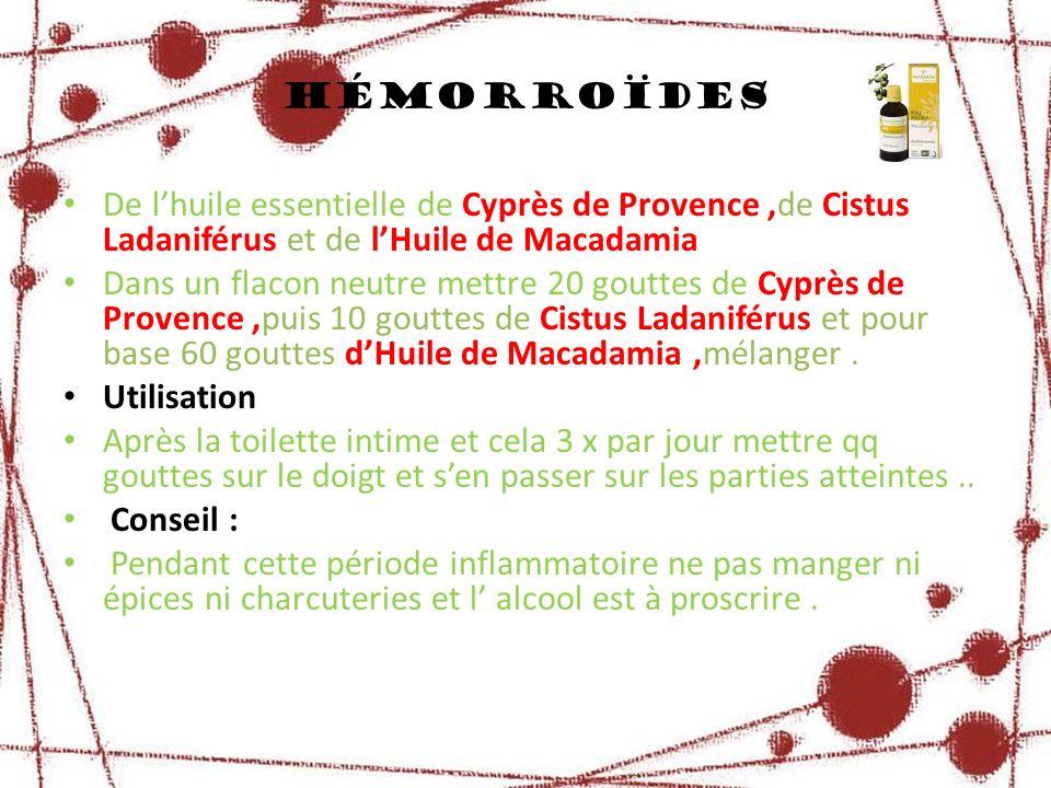 hémorroïdes De l'huile essentielle de Cyprès de Provence ,de Cistus Ladaniférus et de l'Huile de Macadamia.