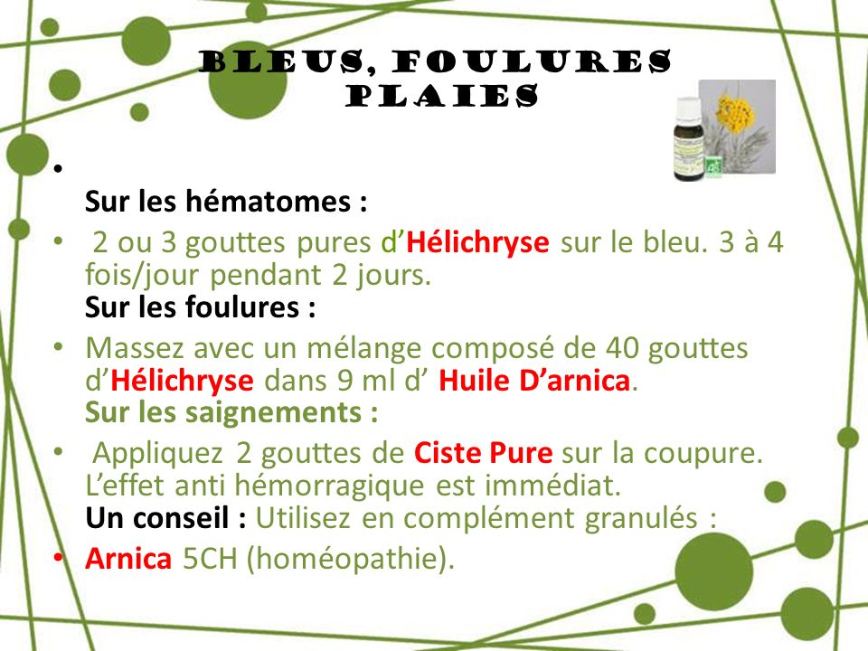 Arnica 5CH (homéopathie).