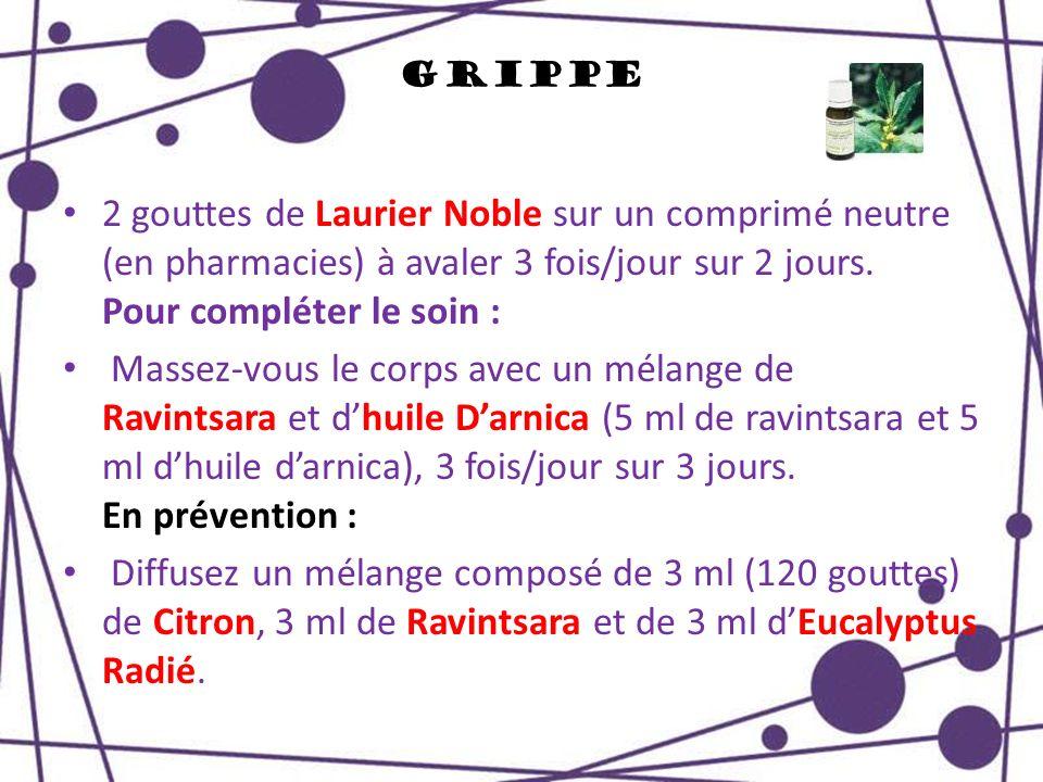 Grippe 2 gouttes de Laurier Noble sur un comprimé neutre (en pharmacies) à avaler 3 fois/jour sur 2 jours. Pour compléter le soin :