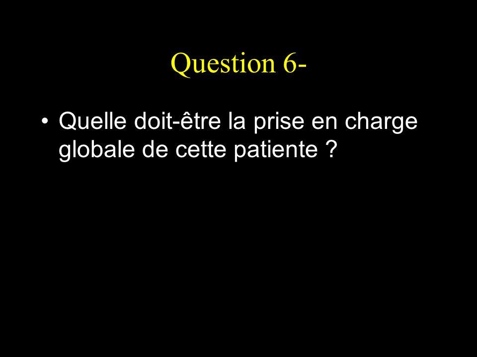 Question 6- Quelle doit-être la prise en charge globale de cette patiente