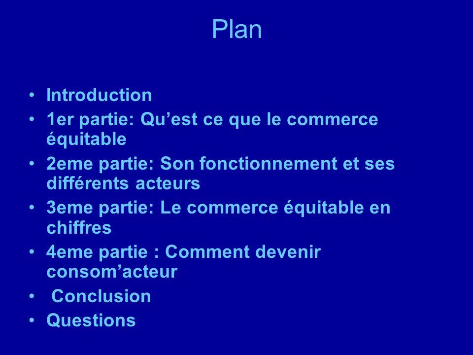 Plan Introduction 1er partie: Qu'est ce que le commerce équitable