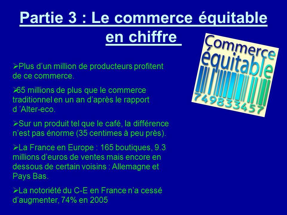 Partie 3 : Le commerce équitable en chiffre