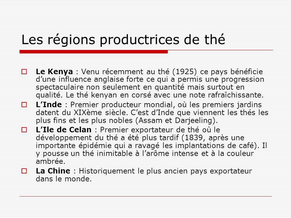 Les régions productrices de thé
