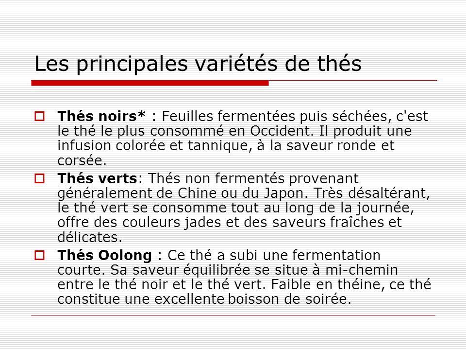 Les principales variétés de thés