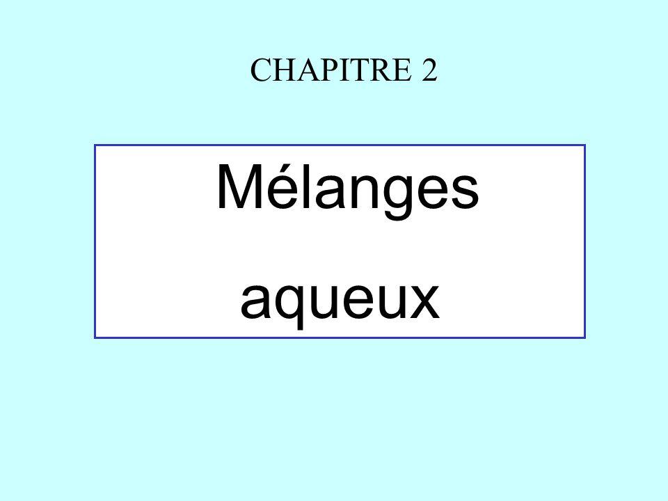 CHAPITRE 2 Mélanges aqueux