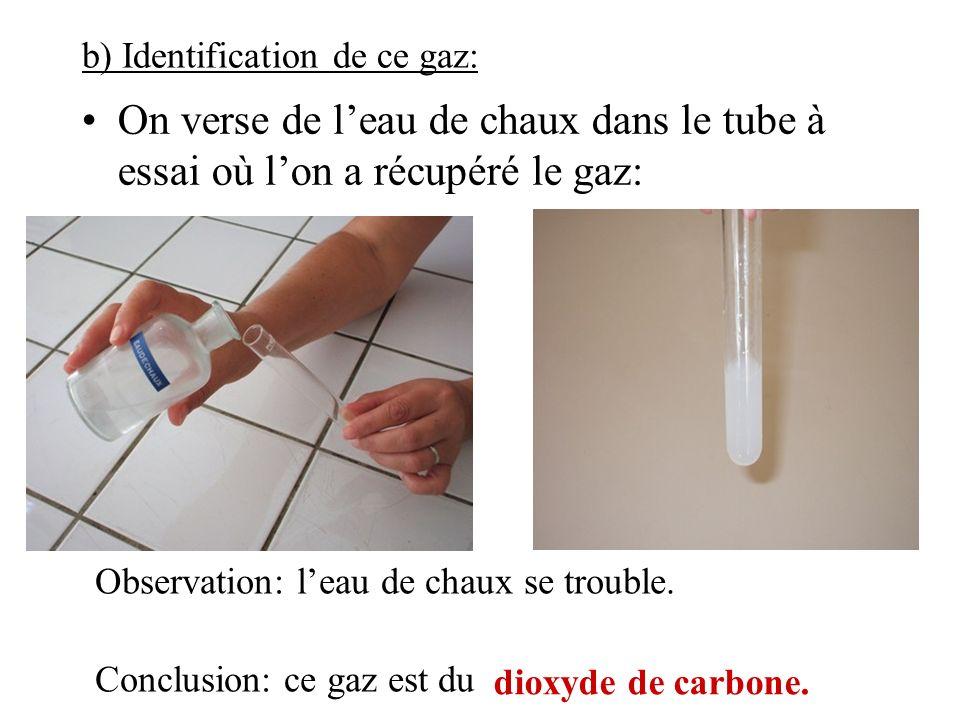 b) Identification de ce gaz: